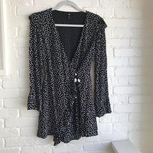 Zara TRF polka dot dress black long sleeve Small